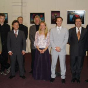 Th�o Charlier International Trumpet Competition, Brussels 2005   Jury and finalists, L-R: Guy Touvron, Tristam Williams, Pasi Pirinen, Fred Mills, Jan van der Roost, Tine Helseth, Cl�ment Saunier, Gabriele Cassone, Reinhold Friedrich and Dominique Bodart