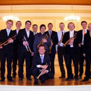 With trumpet class in Riga